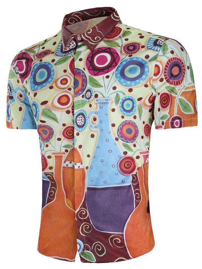 Outfits Flower Vase Paint Print Short Sleeve Shirt