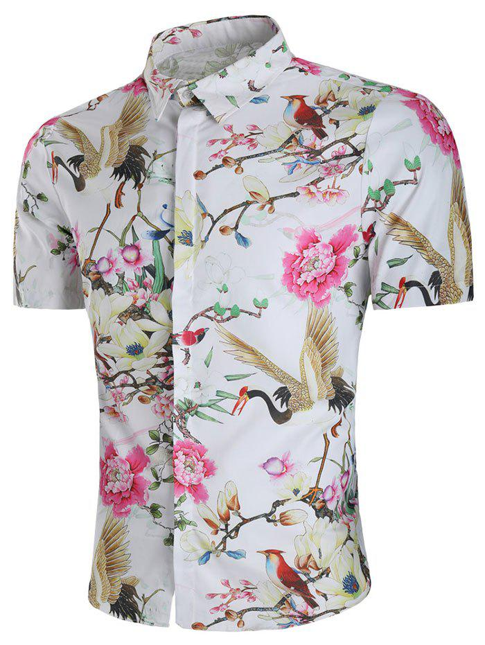 Sale Flower and Crane Print Hidden Button Shirt