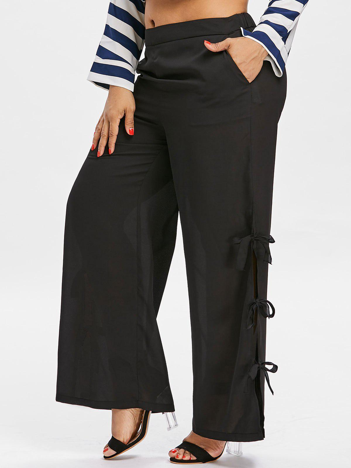 Outfit Side Bowknot Insert Plus Size Wide Leg Pants