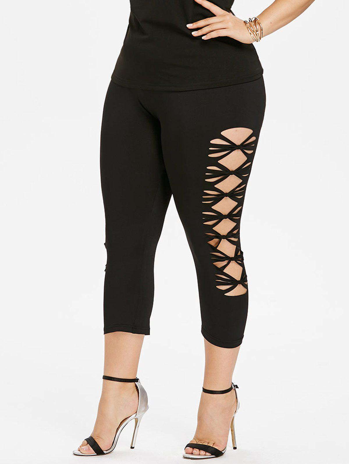 Affordable Plus Size Sides Open Capri Leggings
