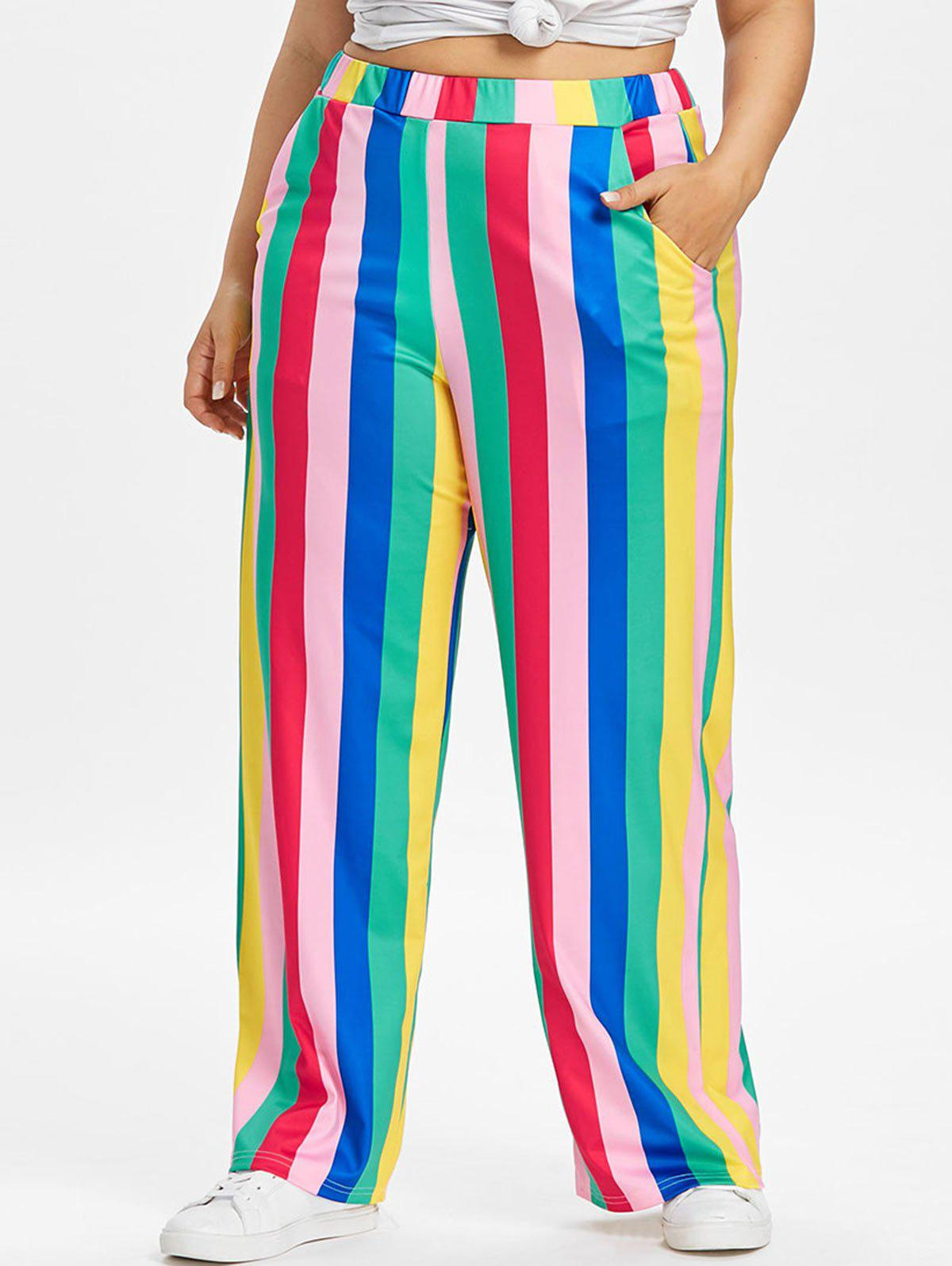 Trendy Color Block Plus Size Striped Wide Leg Pants