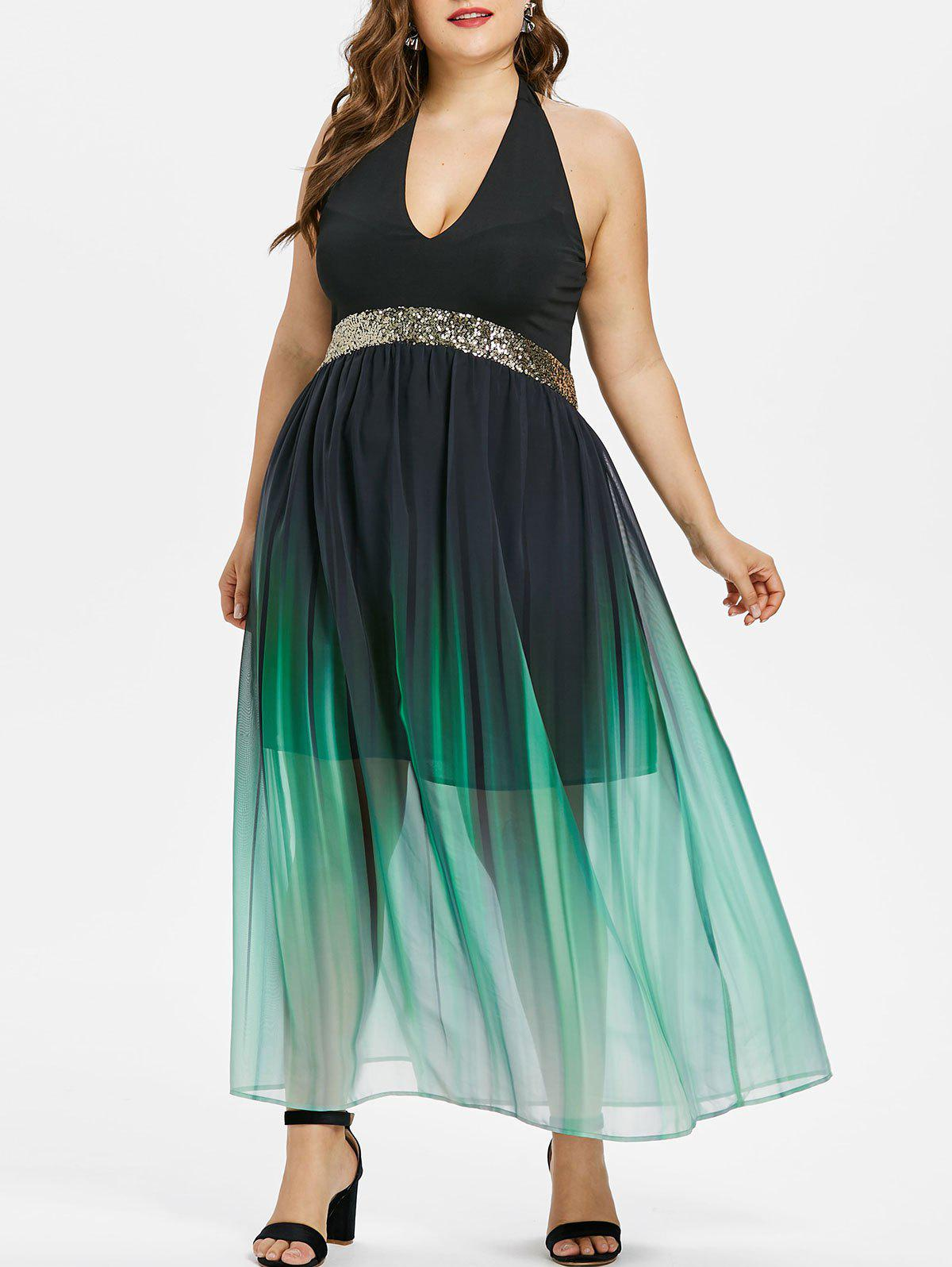 Sale Plus Size Sequined Trim Gradient Prom Dress