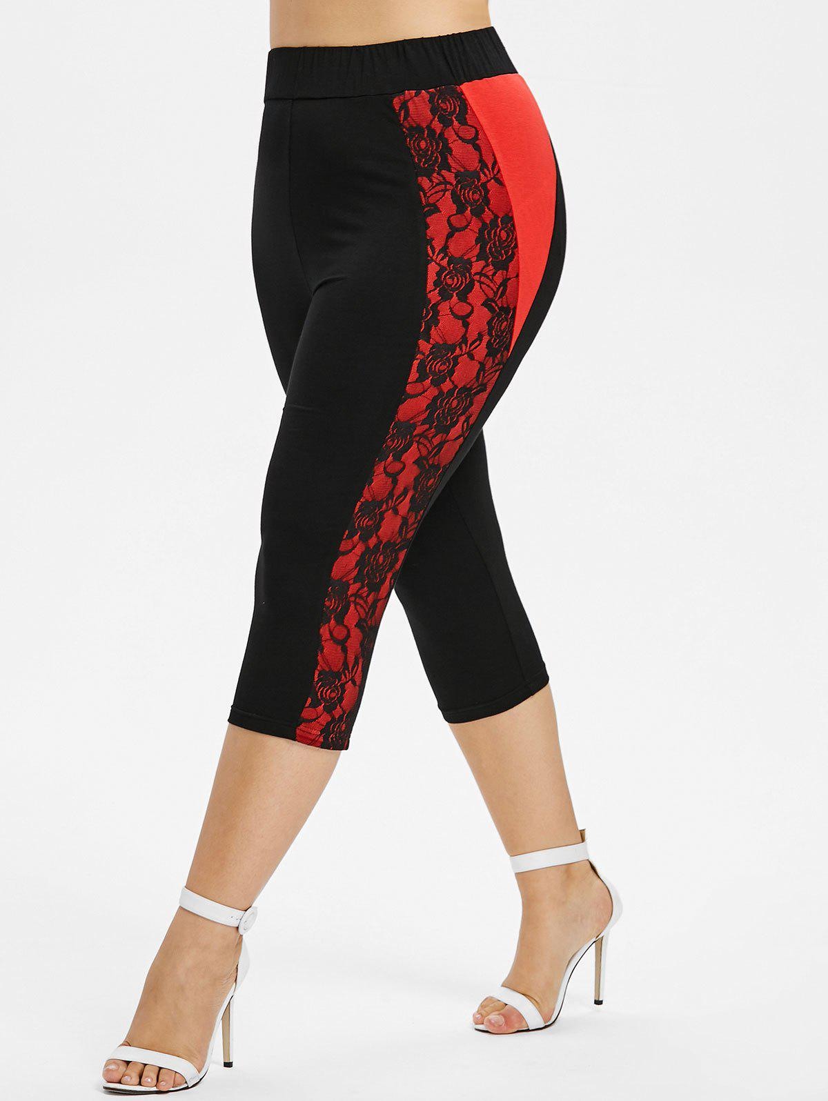 Trendy Plus Size Contrast Lace Insert Capri Leggings
