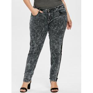 Plus Size Lace Insert Denim Pants -