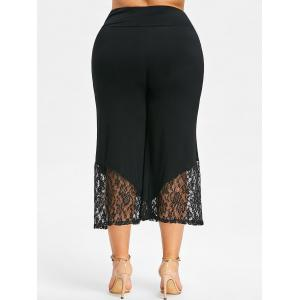 Lace Trim Plus Size Crop Wide Leg Pants -