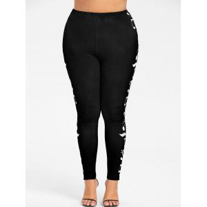 Plus Size  Music Notes Skinny Leggings -