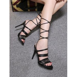 Rivet Ankle Wrapped High Heels -