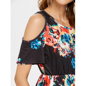Floral Print Open Shoulder T-shirt -
