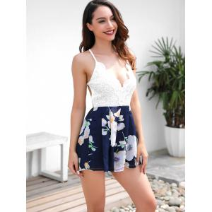 Backless Lace Floral Romper -
