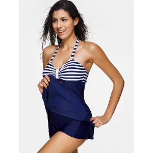 Striped Halter One Piece Swimsuit -