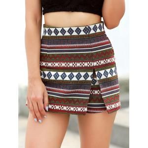 Patterned High Waist Shorts -
