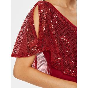 Sequin Plunging Neck T-shirt -