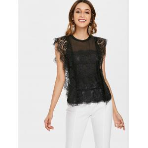 Sheer Mesh Panel Eyelash Lace Top -