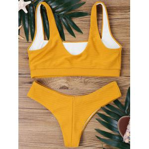 Square Collar High Cut Bikini Set -