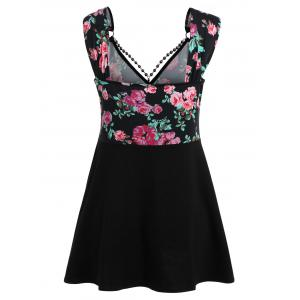 Plunging Neck Floral Print Tank Top -