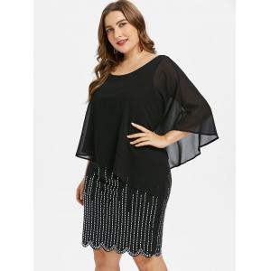 Plus Size Glittery Scalloped Capelet Dress -