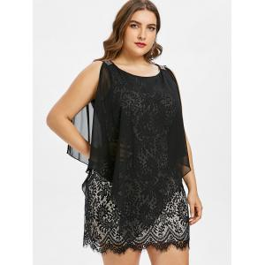 Sleeveless Plus Size Overlay Lace Dress -