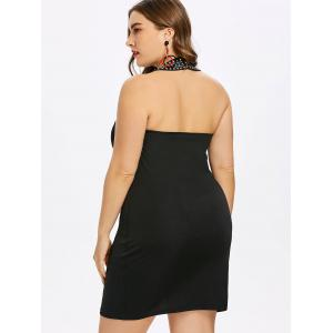 Choker Neck Plus Size Rhinestone Insert Bodycon Dress -