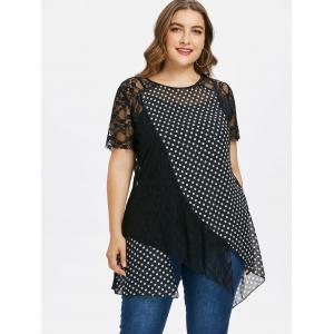 Plus Size Polka Dot Lace Overlay Top -