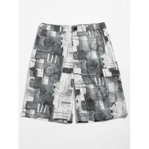 Old Annual Ring Print Zipper Fly Shorts -