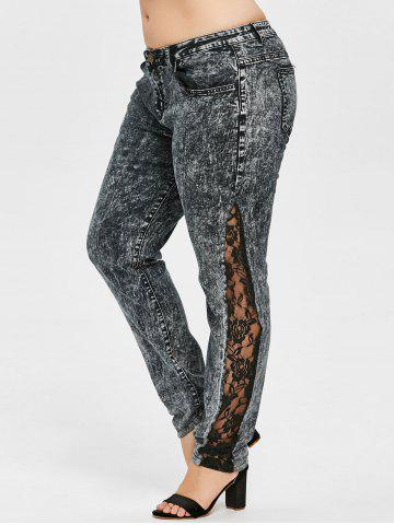 Chic Plus Size Lace Insert Denim Pants