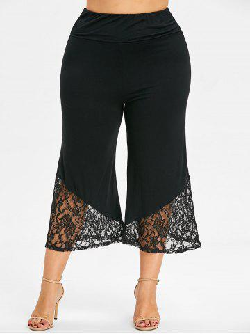 Shops Lace Trim Plus Size Crop Wide Leg Pants