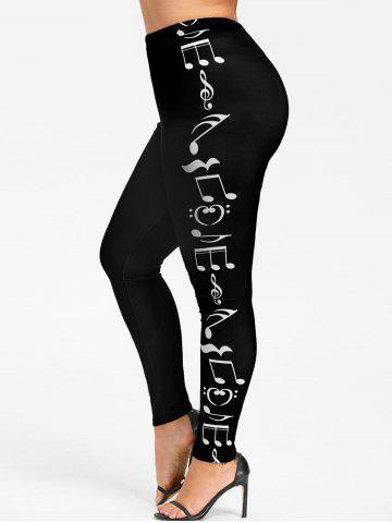 Online Plus Size  Music Notes Skinny Leggings