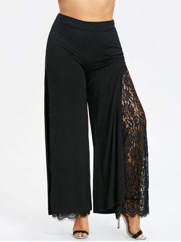 Hot Plus Size Lace High Slit Palazzo Pants
