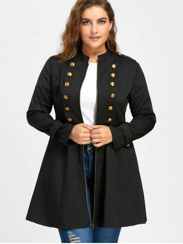 d4c23df14f2 Plus Size Double Breasted Epaulet Flare Coat