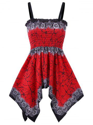 Affordable Marble Print Smocked Handkerchief Cami Top
