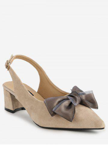 Bow Chunky talon Retro Pointed Toe Pompes Slingback