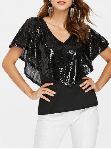 Outfit Sequin Plunging Neck T-shirt