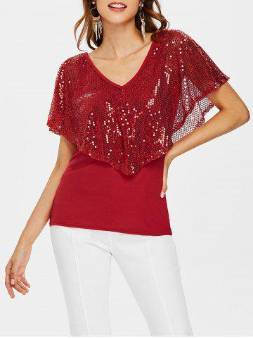 Fashion Sequin Plunging Neck T-shirt