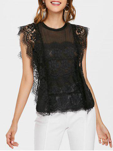 Sale Sheer Mesh Panel Eyelash Lace Top