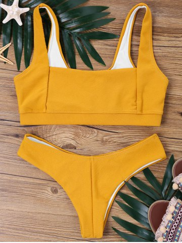Square Collar High Cut Bikini Set