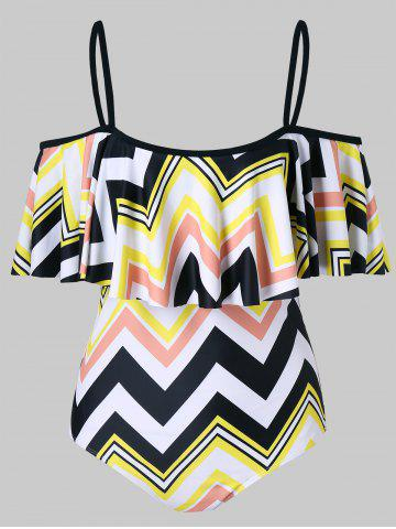 Fancy Zig Zag Print Flounce One Piece Swimsuit