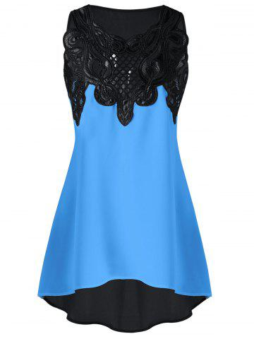 Sale Lace Embroidered High-low Sleeveless Top
