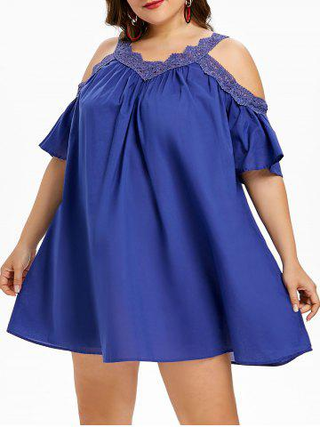 Shop Plus Size Applique Open Shoulder Trapeze Dress