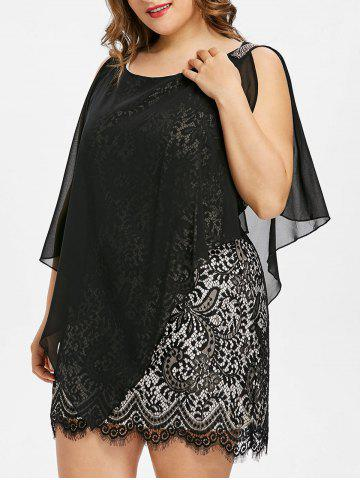 Outfit Sleeveless Plus Size Overlay Lace Dress