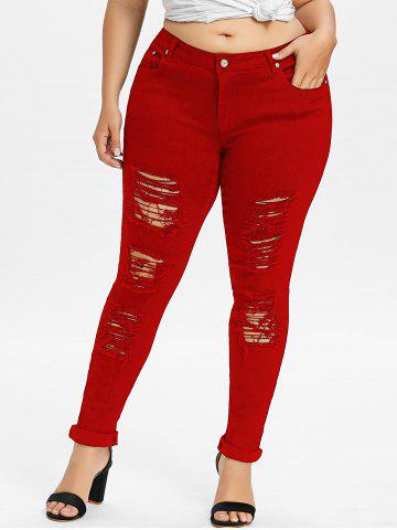 Discount Plus Size Ripped Distressed Jeans
