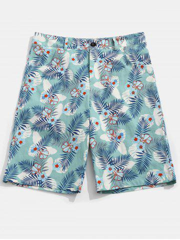 Outfit Flower Leaves Print Casual Shorts
