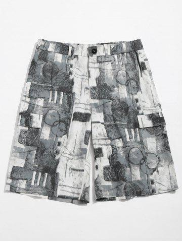 Old Annual Ring Print Zipper Fly Shorts