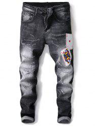Sequin Poker Decorated Distressed Jeans -