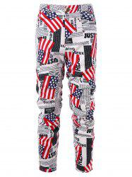 Zip Fly American Flag Newspaper Print Pants -