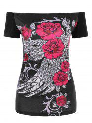 Floral Print Shredded T-shirt -