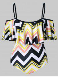 Zig Zag Print Flounce One Piece Swimsuit -