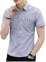 Allover Letter Print Button Up Shirt -