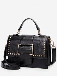 Studs Flap Chic Buckled Crossbody Bag -