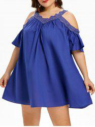 Plus Size Applique Open Shoulder Trapeze Dress -