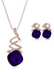 Rhinestone Inlaid Geometric Faux Gem Jewelry Set -